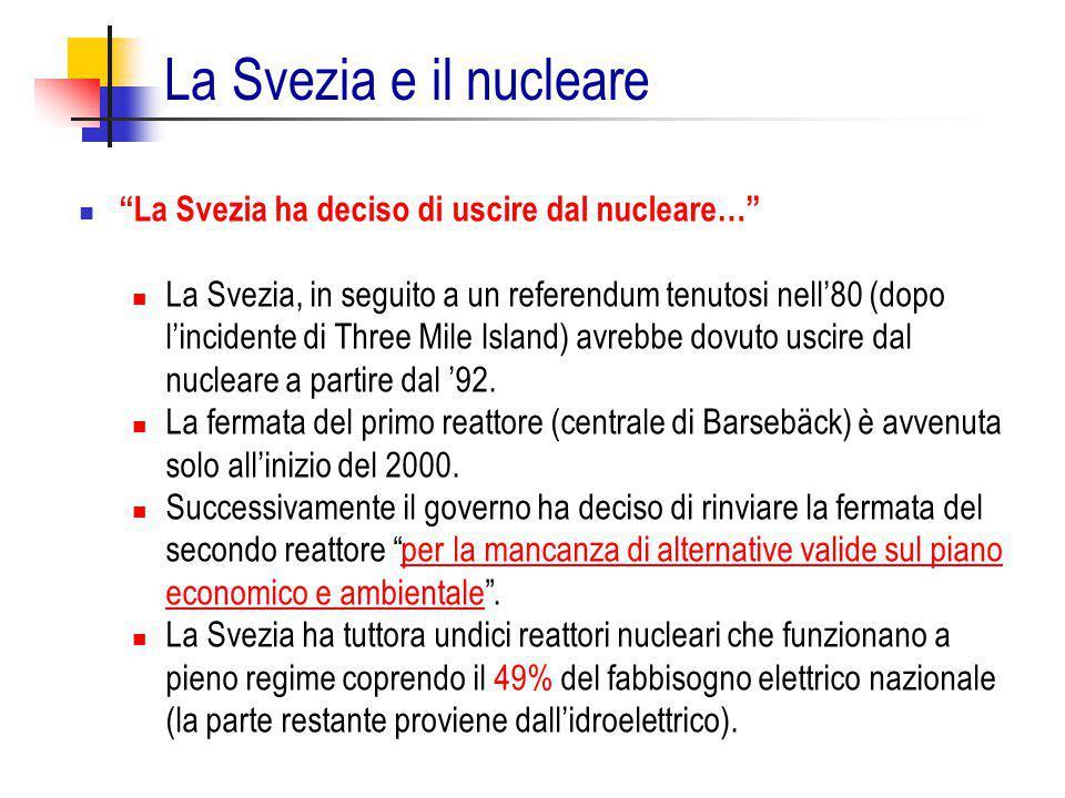 """""""La Svezia ha deciso di uscire dal nucleare…"""" La Svezia, in seguito a un referendum tenutosi nell'80 (dopo l'incidente di Three Mile Island) avrebbe d"""