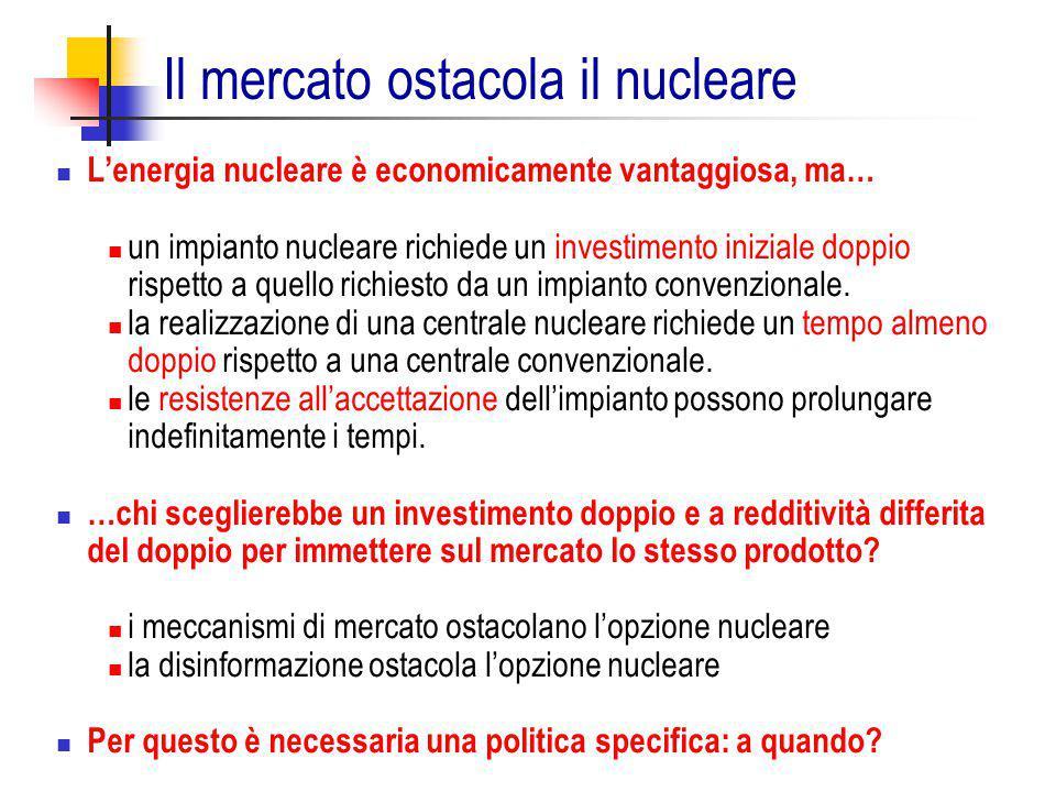 L'energia nucleare è economicamente vantaggiosa, ma… un impianto nucleare richiede un investimento iniziale doppio rispetto a quello richiesto da un i