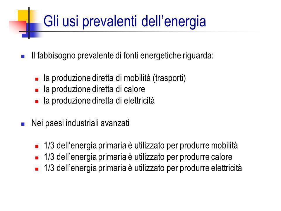 Gli usi prevalenti dell'energia Il fabbisogno prevalente di fonti energetiche riguarda: la produzione diretta di mobilità (trasporti) la produzione di