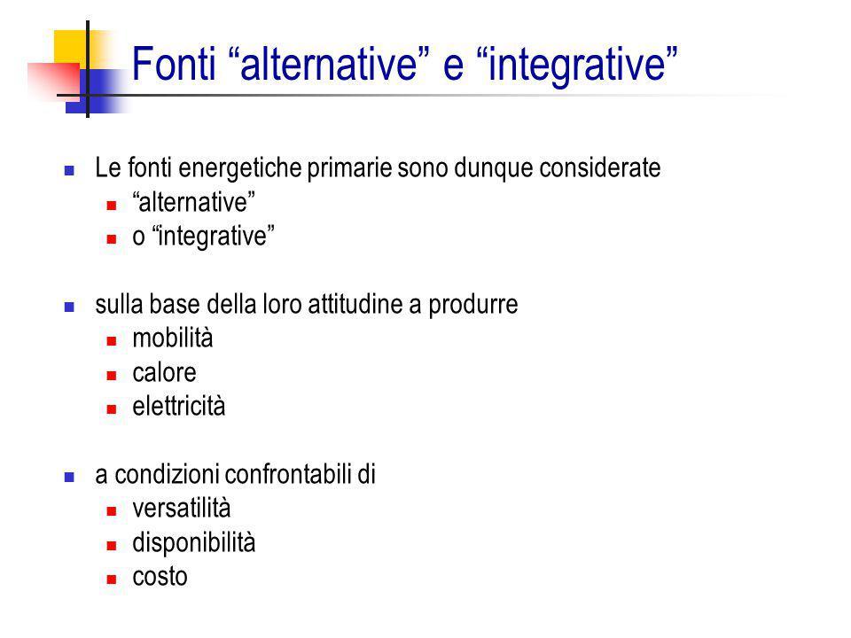 """Fonti """"alternative"""" e """"integrative"""" Le fonti energetiche primarie sono dunque considerate """"alternative"""" o """"integrative"""" sulla base della loro attitudi"""