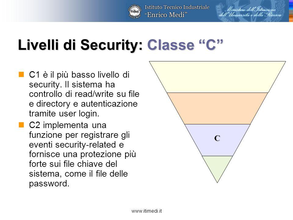 www.itimedi.it Livelli di Security: Classe B B1 supporta security multi-level, come secret e top secret: un utente non può modificare le permissions su file o directory.