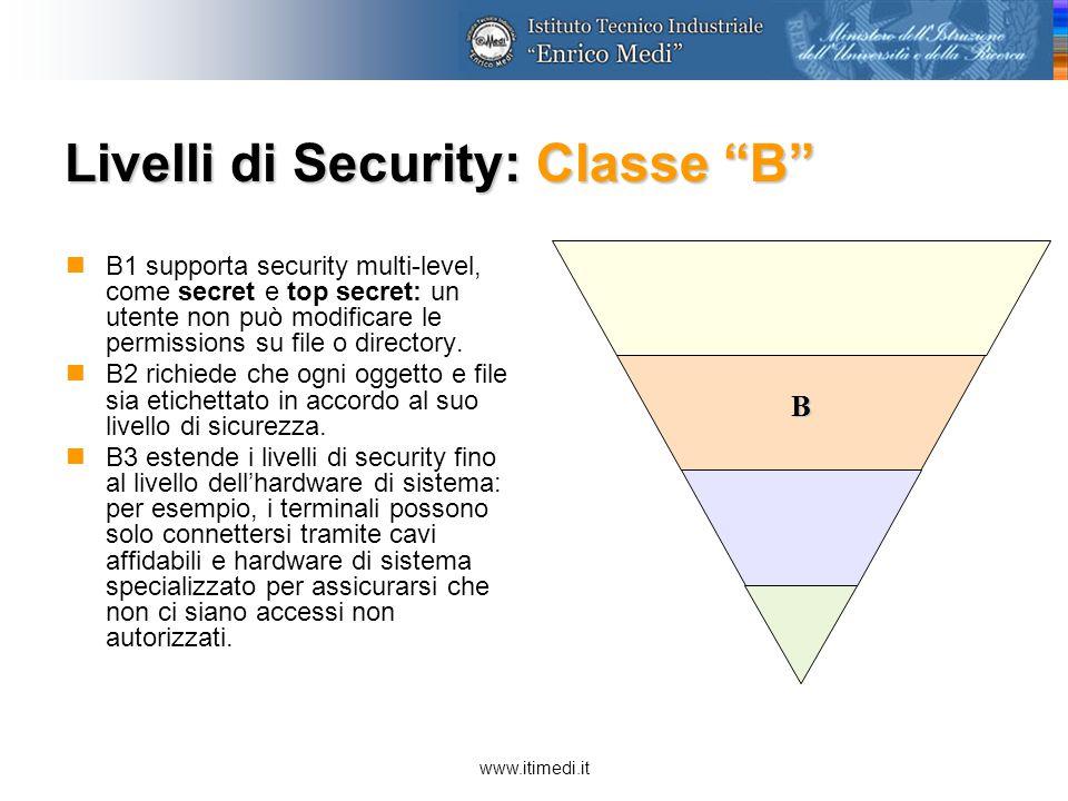 www.itimedi.it Livelli di Security: Classe A A1 è il più alto livello di security.