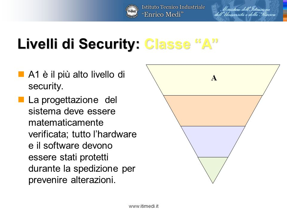 www.itimedi.it Livelli di Security: Classe A A1 è il più alto livello di security.