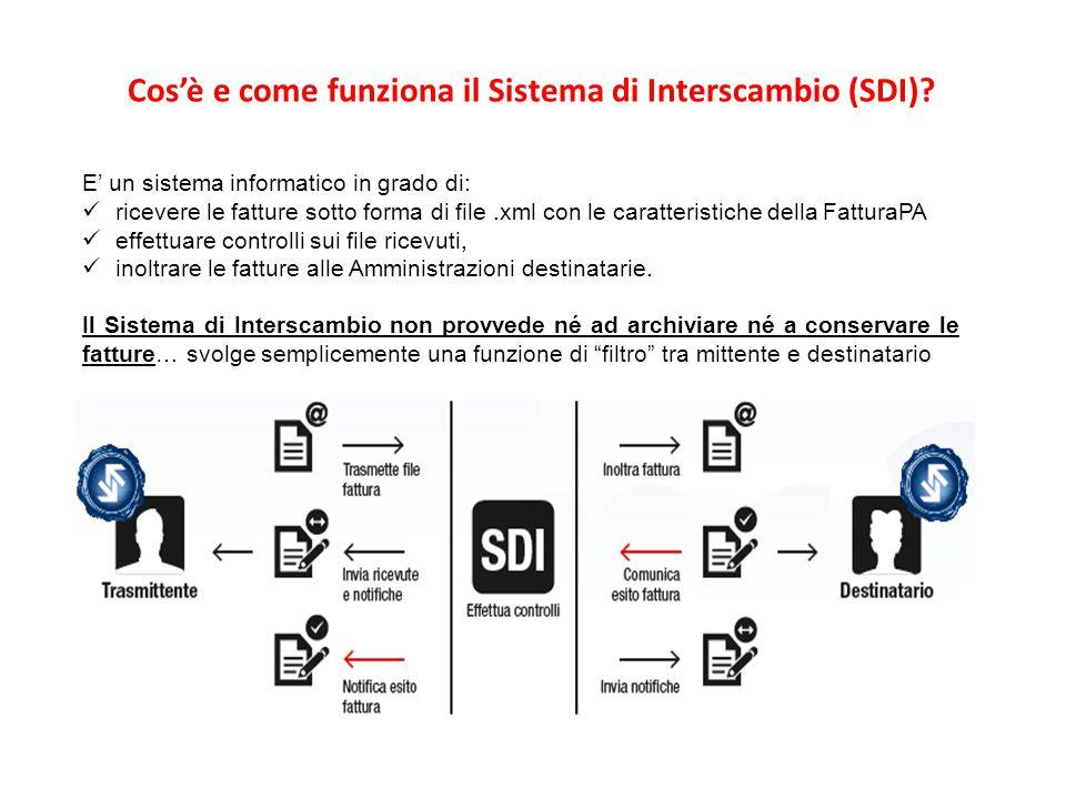 E' un sistema informatico in grado di: ricevere le fatture sotto forma di file.xml con le caratteristiche della FatturaPA effettuare controlli sui fil
