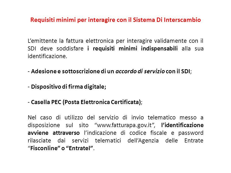 L'emittente la fattura elettronica per interagire validamente con il SDI deve soddisfare i requisiti minimi indispensabili alla sua identificazione. -