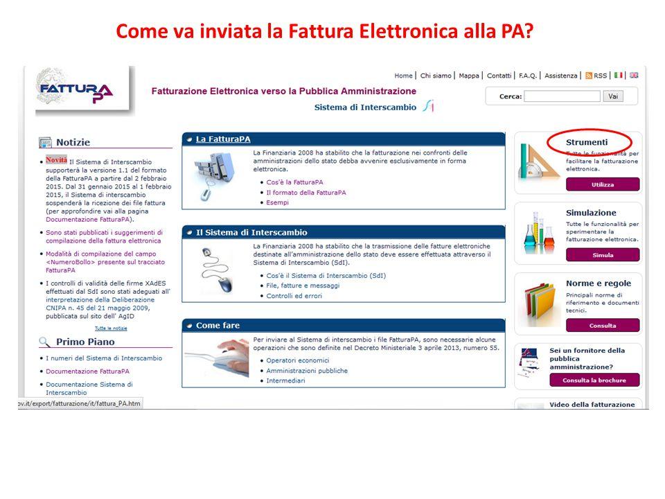 Come va inviata la Fattura Elettronica alla PA?