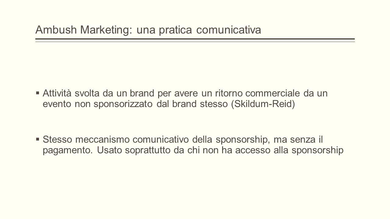 Ambush Marketing: una pratica comunicativa  Attività svolta da un brand per avere un ritorno commerciale da un evento non sponsorizzato dal brand stesso (Skildum-Reid)  Stesso meccanismo comunicativo della sponsorship, ma senza il pagamento.