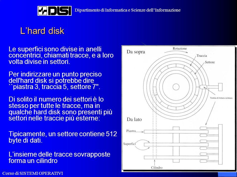 Corso di SISTEMI OPERATIVI Dipartimento di Informatica e Scienze dell'Informazione Dischi IDE e SCSI Esistono vari tipi di dispositivi per gestire i dischi Ad esempio, i dischi IDE e SCSI si differenziano per i controller e i bus utilizzati per la gestione e il trasferimento dei dati