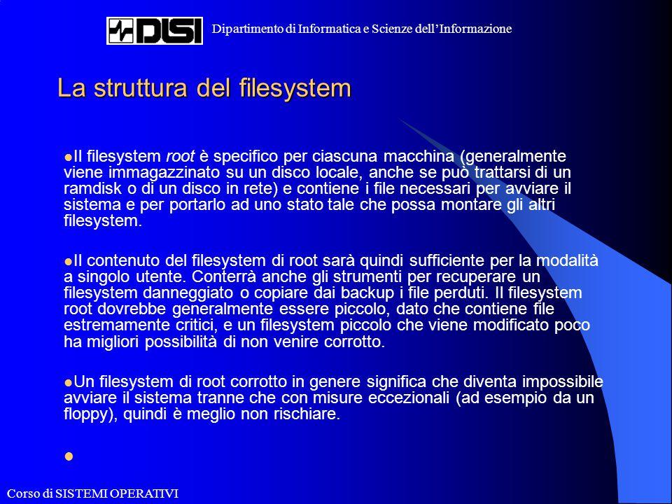 Corso di SISTEMI OPERATIVI Dipartimento di Informatica e Scienze dell'Informazione La struttura del filesystem Il filesystem root è specifico per cias