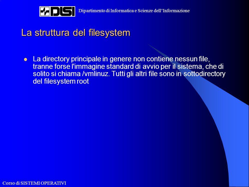 Corso di SISTEMI OPERATIVI Dipartimento di Informatica e Scienze dell'Informazione La struttura del filesystem La directory principale in genere non c