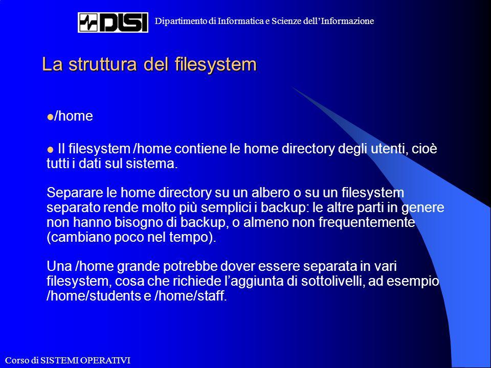 Corso di SISTEMI OPERATIVI Dipartimento di Informatica e Scienze dell'Informazione La struttura del filesystem /home Il filesystem /home contiene le h