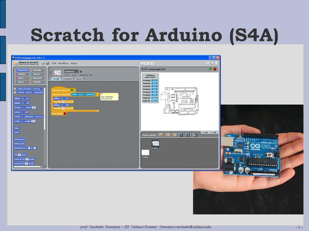 - 2 - prof. Vaschetto Francesco – IIS Vallauri Fossano - francesco.vaschetto@vallauri.edu Scratch for Arduino (S4A)