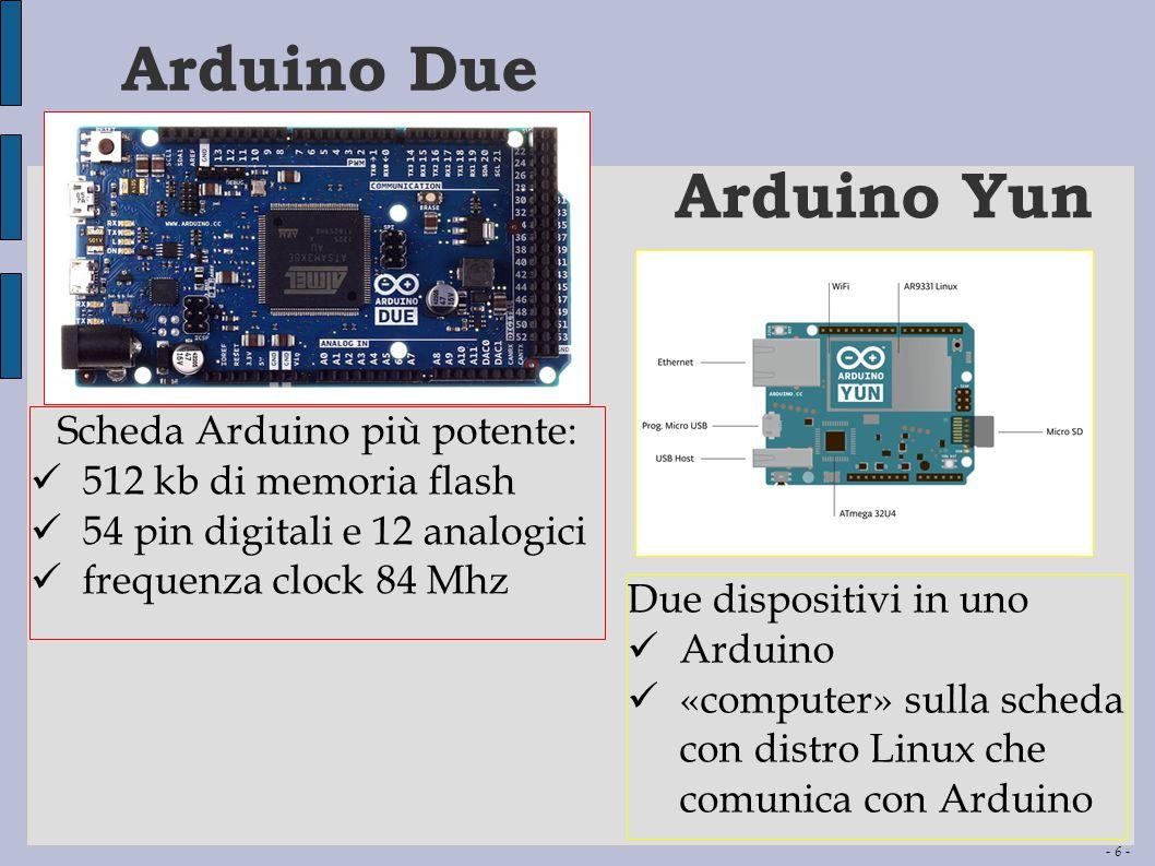 - 6 - Arduino Due Arduino Yun Scheda Arduino più potente: 512 kb di memoria flash 54 pin digitali e 12 analogici frequenza clock 84 Mhz Due dispositiv