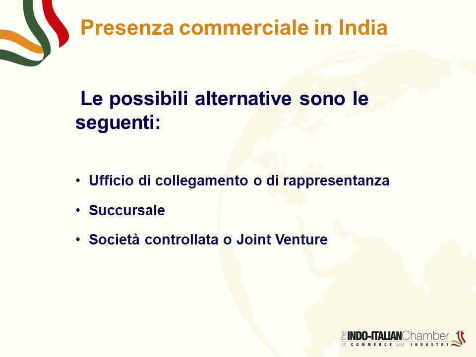 Presenza commerciale in India Le possibili alternative sono le seguenti: Ufficio di collegamento o di rappresentanza Succursale Società controllata o Joint Venture