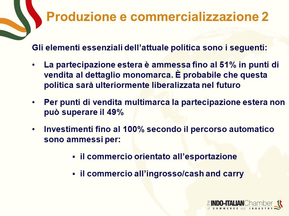 Produzione e commercializzazione 2 Gli elementi essenziali dell'attuale politica sono i seguenti: La partecipazione estera è ammessa fino al 51% in punti di vendita al dettaglio monomarca.