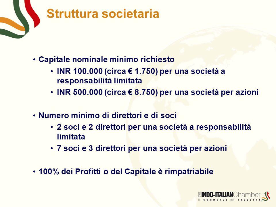 Struttura societaria Capitale nominale minimo richiesto INR 100.000 (circa € 1.750) per una società a responsabilità limitata INR 500.000 (circa € 8.750) per una società per azioni Numero minimo di direttori e di soci 2 soci e 2 direttori per una società a responsabilità limitata 7 soci e 3 direttori per una società per azioni 100% dei Profitti o del Capitale è rimpatriabile