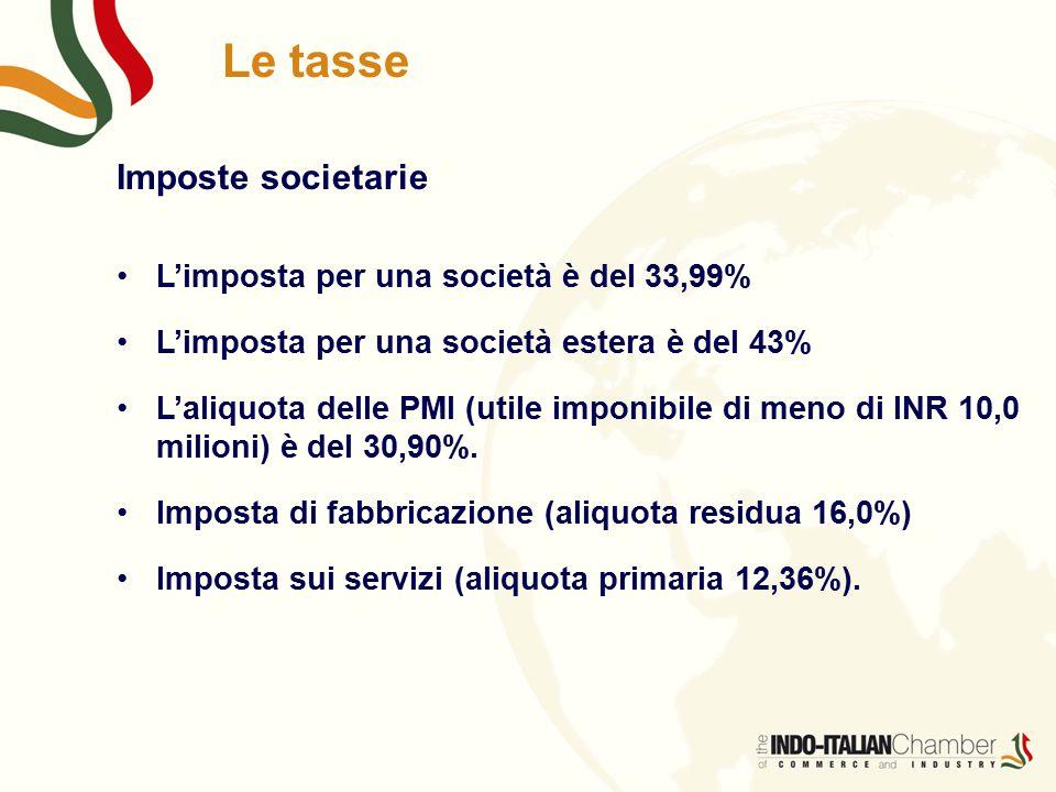 Le tasse Imposte societarie L'imposta per una società è del 33,99% L'imposta per una società estera è del 43% L'aliquota delle PMI (utile imponibile di meno di INR 10,0 milioni) è del 30,90%.