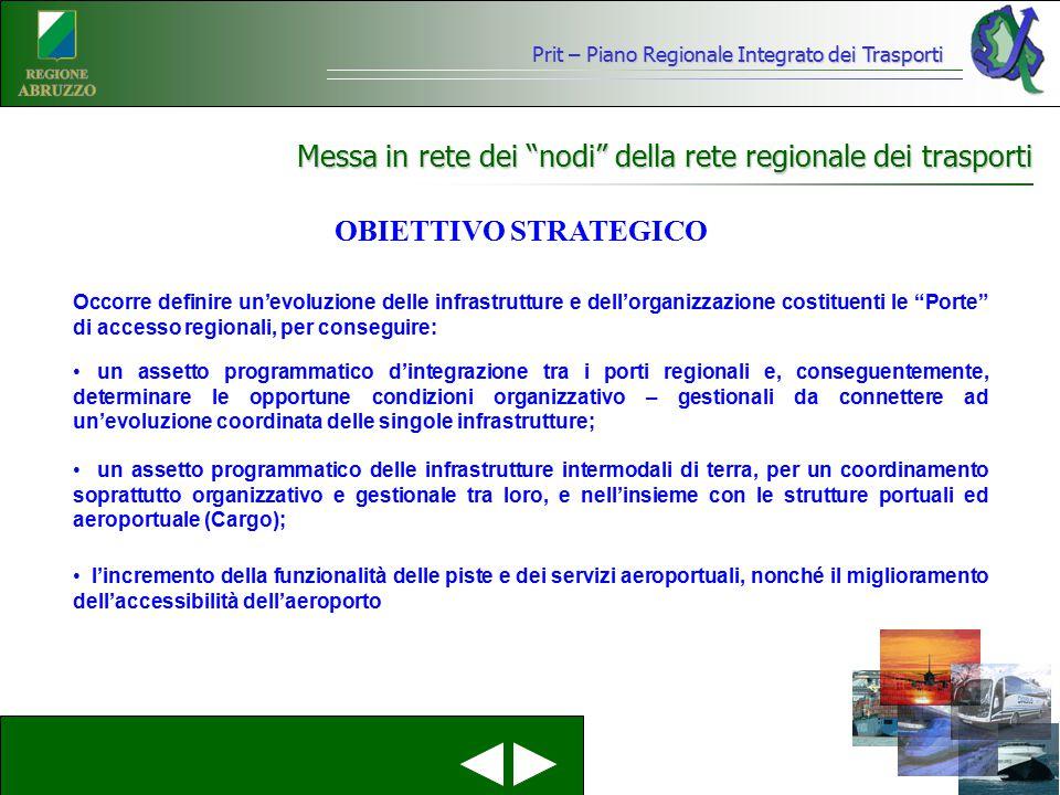 """Prit – Piano Regionale Integrato dei Trasporti Messa in rete dei """"nodi"""" della rete regionale dei trasporti Occorre definire un'evoluzione delle infras"""