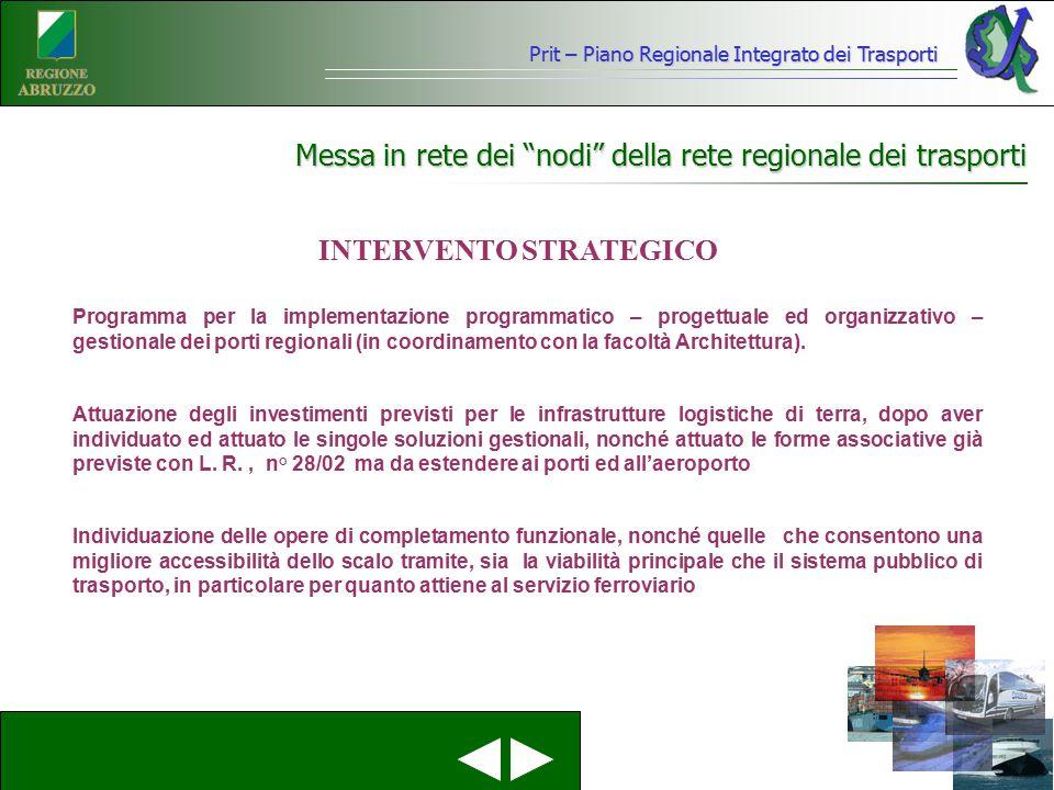 """Prit – Piano Regionale Integrato dei Trasporti Messa in rete dei """"nodi"""" della rete regionale dei trasporti INTERVENTO STRATEGICO Programma per la impl"""