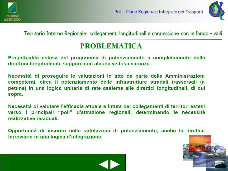 Territorio Interno Regionale: collegamenti longitudinali e connessione con le fondo - valli Progettualità estesa del programma di potenziamento e comp