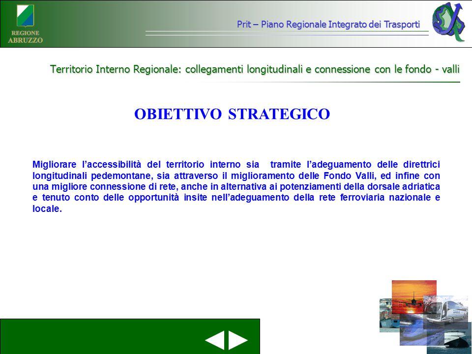 Prit – Piano Regionale Integrato dei Trasporti Territorio Interno Regionale: collegamenti longitudinali e connessione con le fondo - valli Migliorare