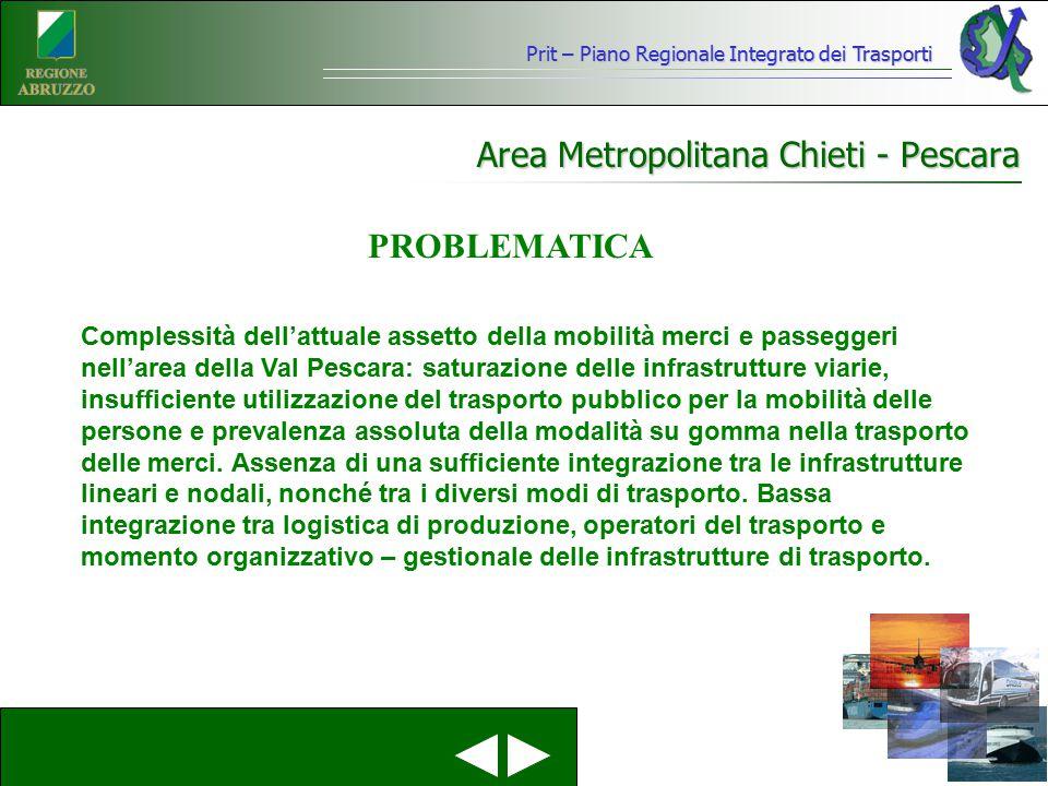 Prit – Piano Regionale Integrato dei Trasporti Area Metropolitana Chieti - Pescara Complessità dell'attuale assetto della mobilità merci e passeggeri