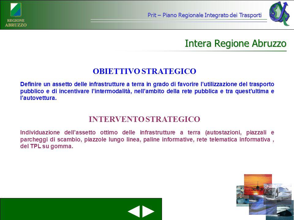 Prit – Piano Regionale Integrato dei Trasporti Intera Regione Abruzzo Definire un assetto delle infrastrutture a terra in grado di favorire l'utilizza