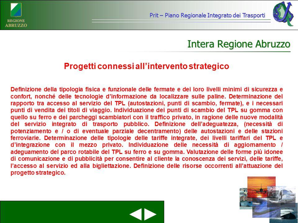 Prit – Piano Regionale Integrato dei Trasporti Intera Regione Abruzzo Definizione della tipologia fisica e funzionale delle fermate e dei loro livelli