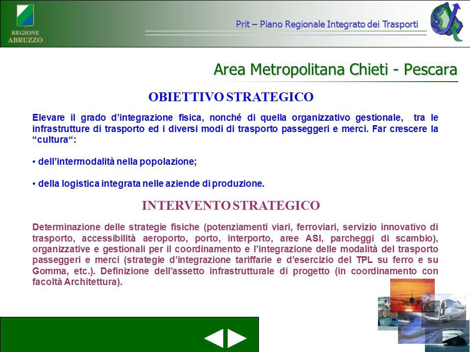 Prit – Piano Regionale Integrato dei Trasporti Area Metropolitana Chieti - Pescara Elevare il grado d'integrazione fisica, nonché di quella organizzat