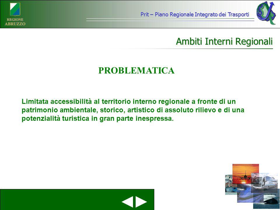 Ambiti Interni Regionali Limitata accessibilità al territorio interno regionale a fronte di un patrimonio ambientale, storico, artistico di assoluto r