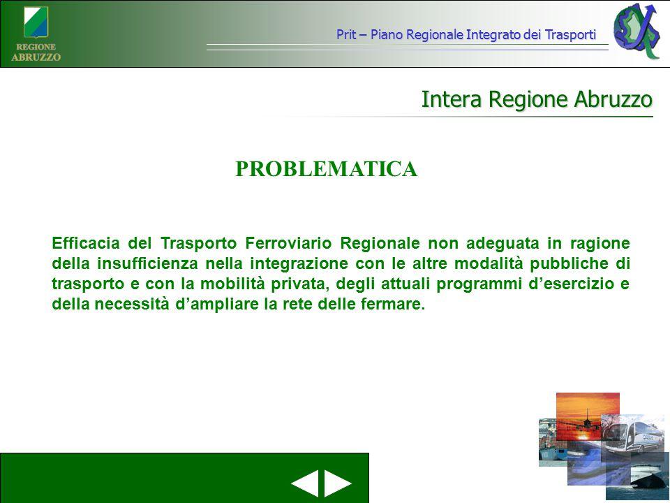 Intera Regione Abruzzo Efficacia del Trasporto Ferroviario Regionale non adeguata in ragione della insufficienza nella integrazione con le altre modal