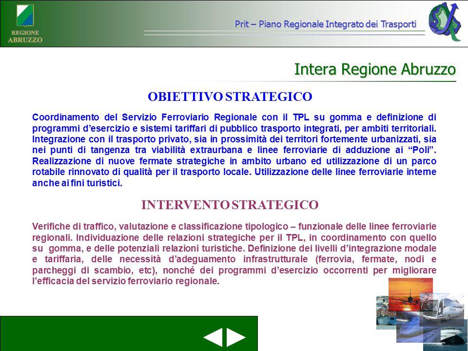 Prit – Piano Regionale Integrato dei Trasporti Intera Regione Abruzzo Coordinamento del Servizio Ferroviario Regionale con il TPL su gomma e definizio
