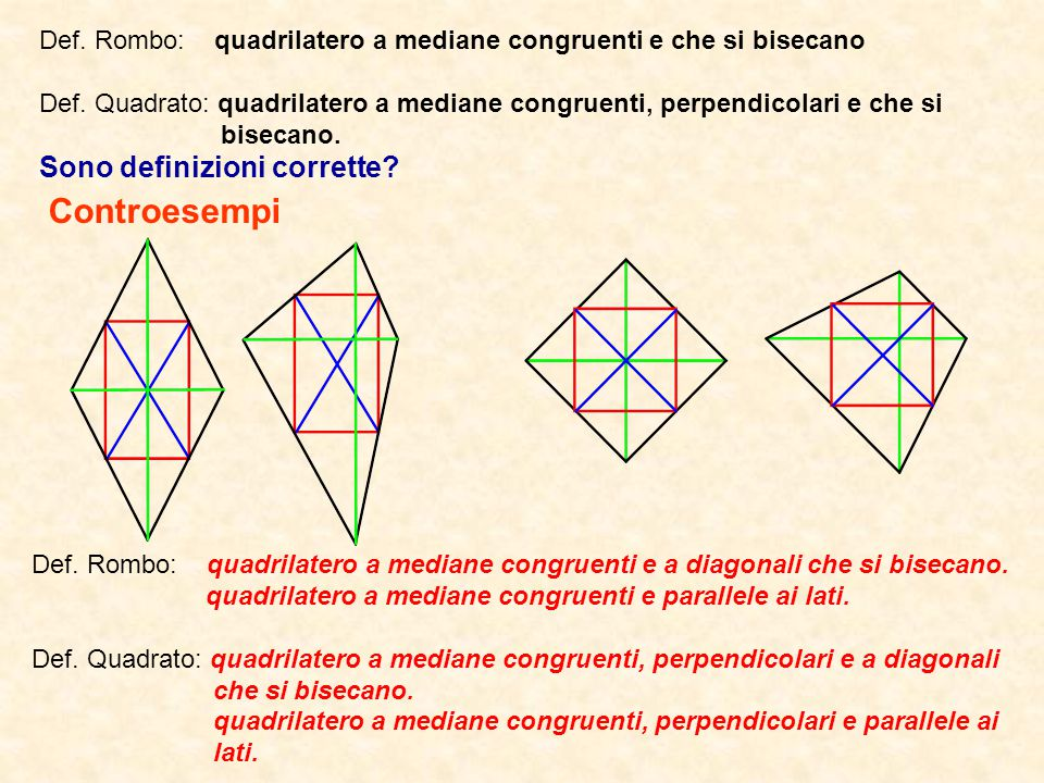 Def.Rombo: quadrilatero a mediane congruenti e che si bisecano Def.