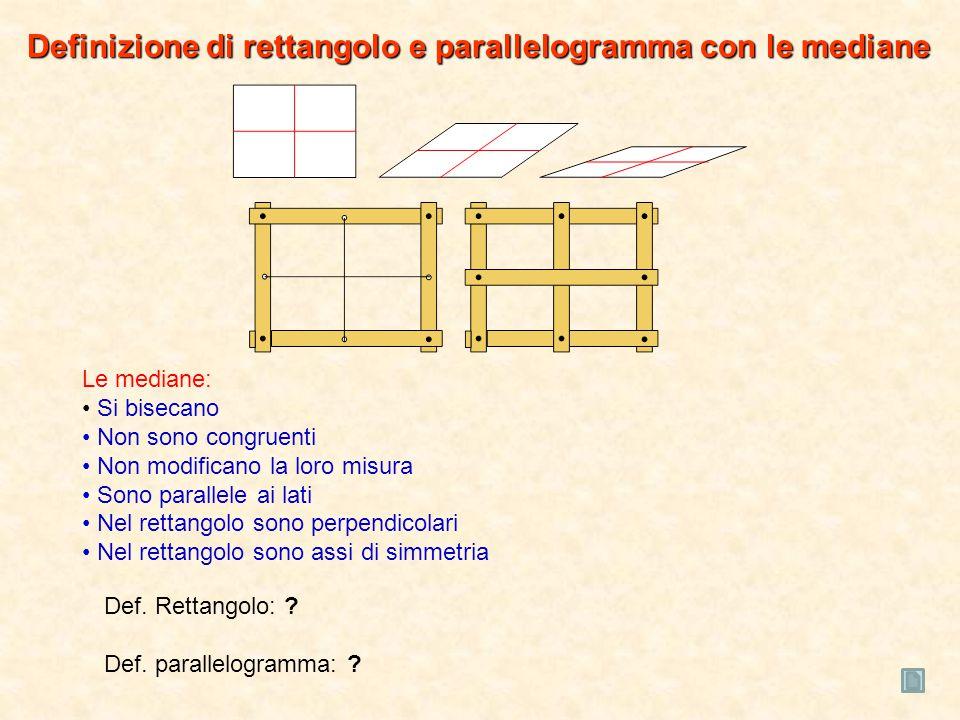 Le mediane: Si bisecano Non sono congruenti Non modificano la loro misura Sono parallele ai lati Nel rettangolo sono perpendicolari Nel rettangolo sono assi di simmetria Def.