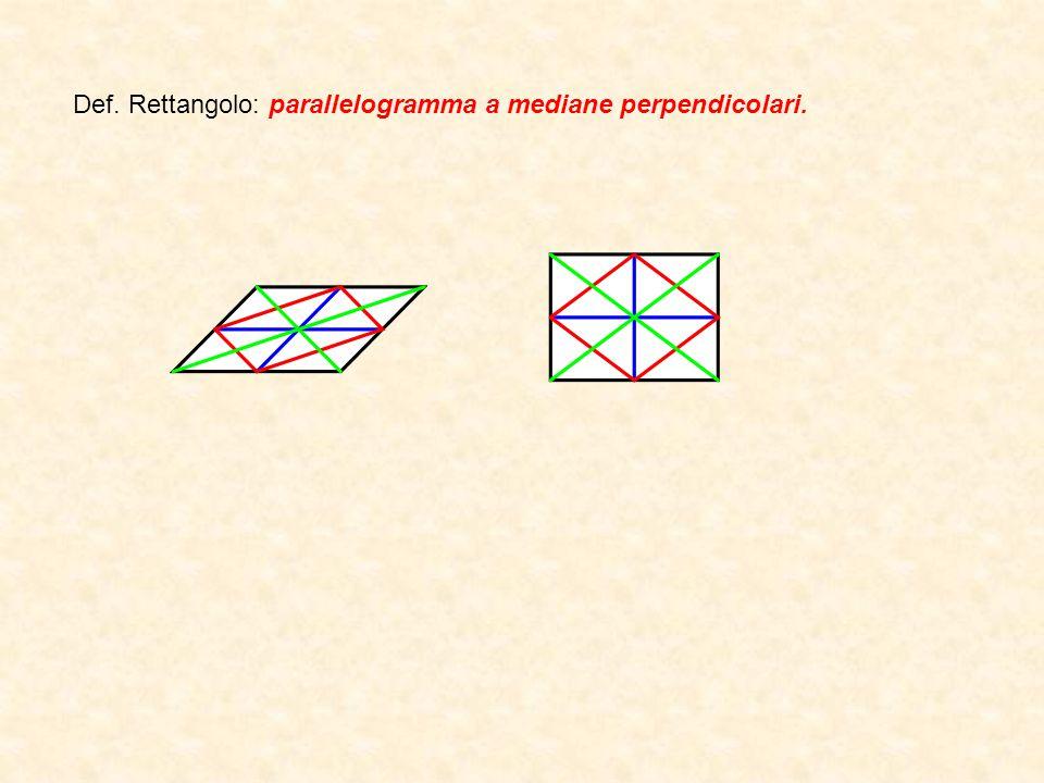Def. Rettangolo: parallelogramma a mediane perpendicolari.