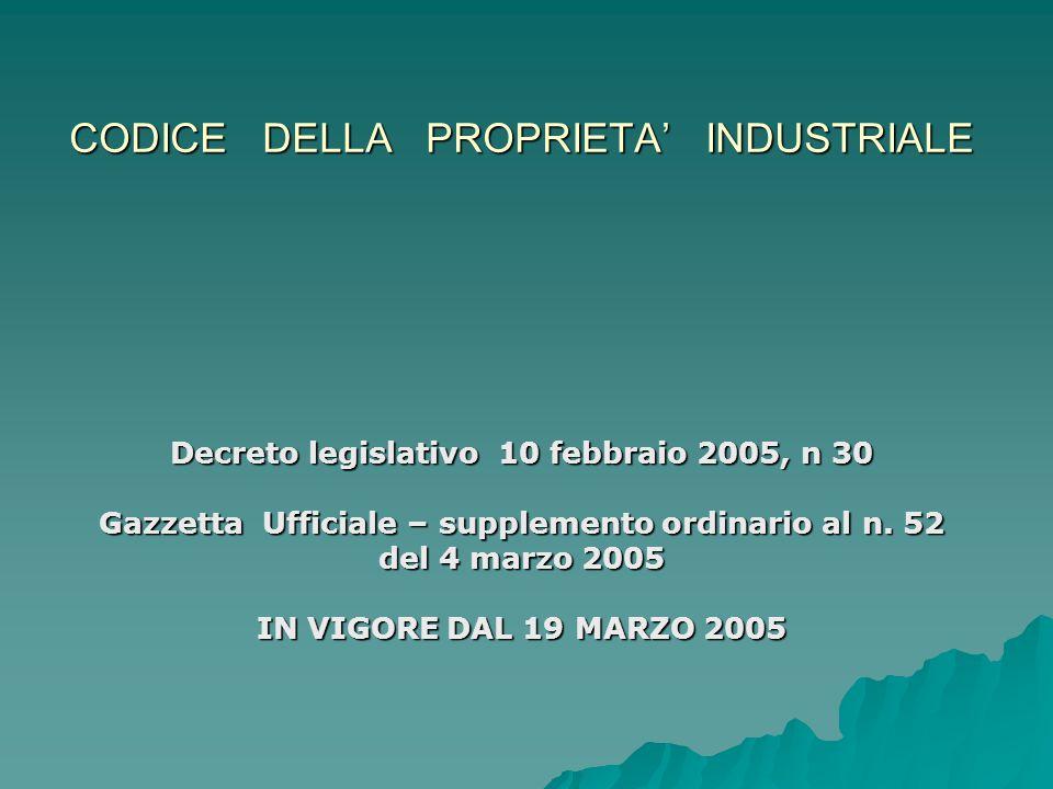 CODICE DELLA PROPRIETA' INDUSTRIALE Decreto legislativo 10 febbraio 2005, n 30 Gazzetta Ufficiale – supplemento ordinario al n.