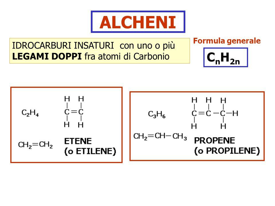 ALCHENI IDROCARBURI INSATURI con uno o più LEGAMI DOPPI fra atomi di Carbonio Formula generale C n H 2n