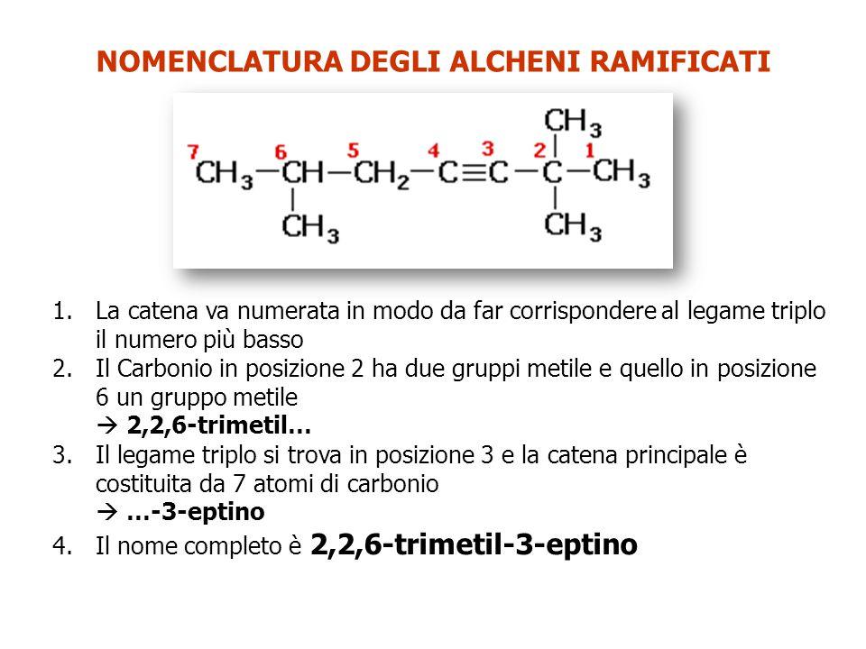 NOMENCLATURA DEGLI ALCHENI RAMIFICATI 1.La catena va numerata in modo da far corrispondere al legame triplo il numero più basso 2.Il Carbonio in posizione 2 ha due gruppi metile e quello in posizione 6 un gruppo metile  2,2,6-trimetil… 3.Il legame triplo si trova in posizione 3 e la catena principale è costituita da 7 atomi di carbonio  …-3-eptino 4.Il nome completo è 2,2,6-trimetil-3-eptino