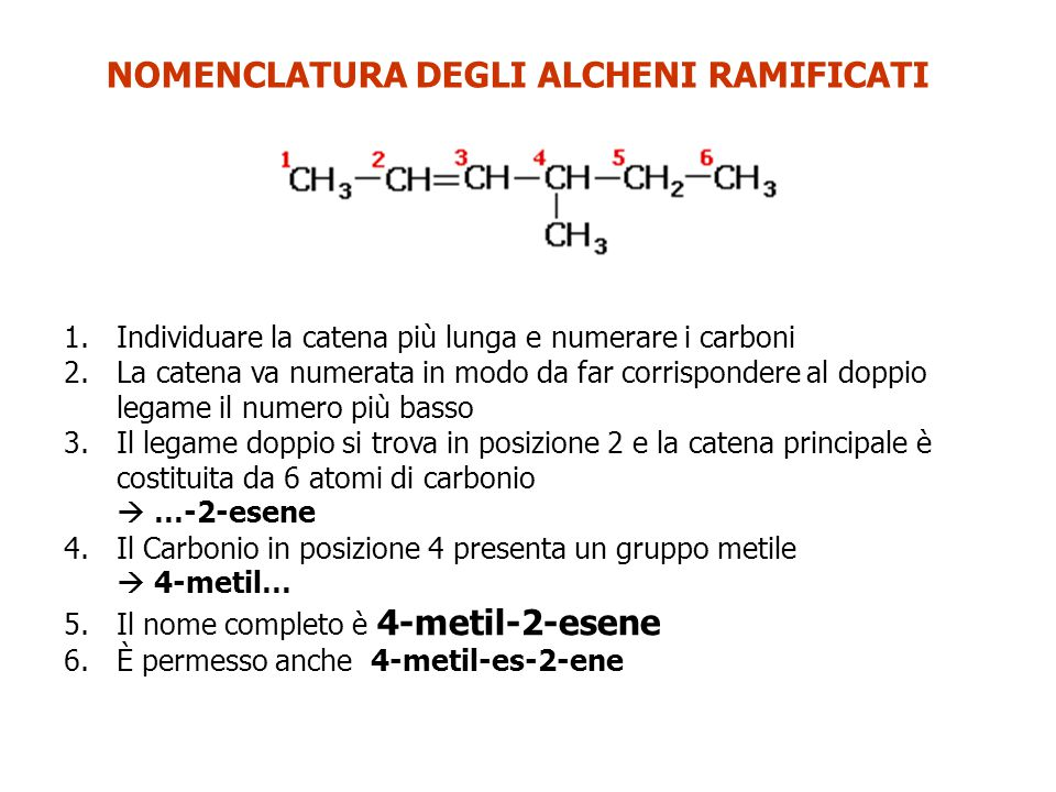 NOMENCLATURA DEGLI ALCHENI RAMIFICATI =CH 2 metilidene Questo è un caso molto particolare.