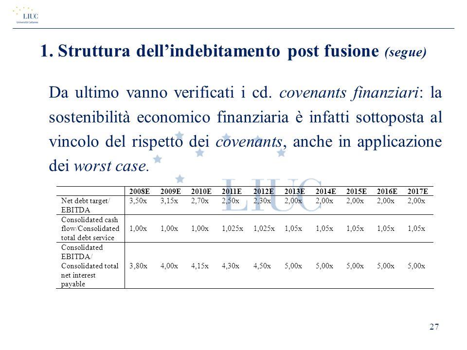 Da ultimo vanno verificati i cd. covenants finanziari: la sostenibilità economico finanziaria è infatti sottoposta al vincolo del rispetto dei covenan