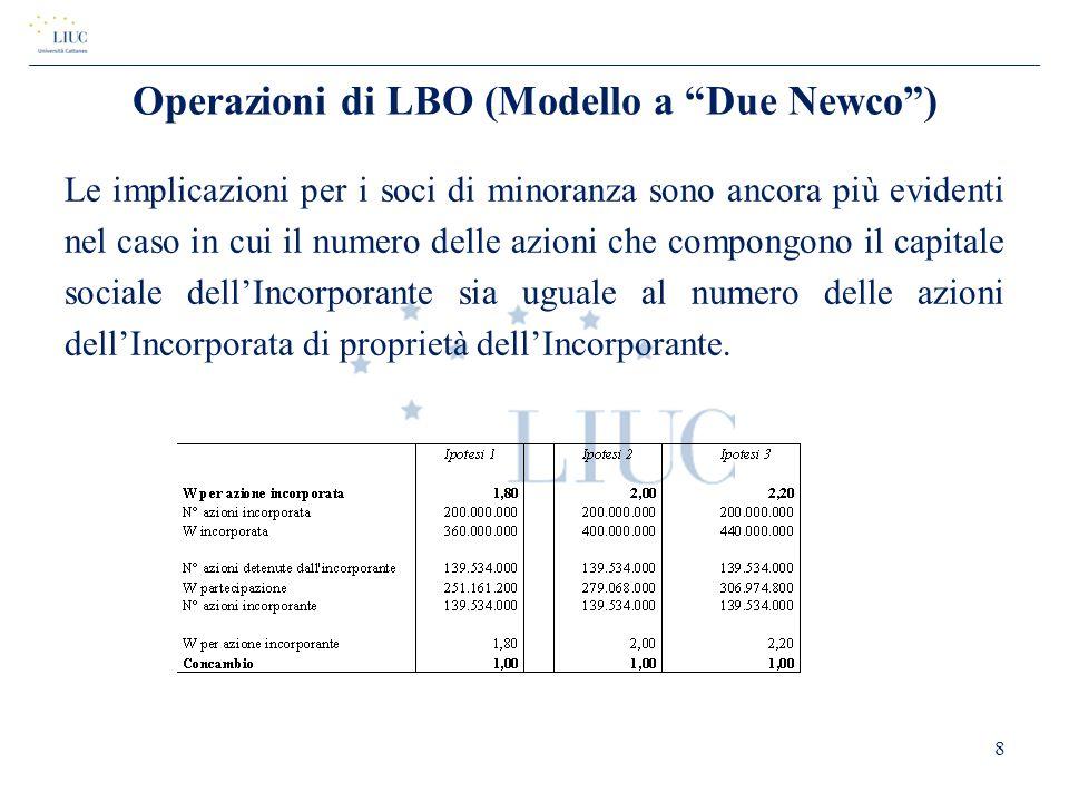 """Operazioni di LBO (Modello a """"Due Newco"""") Le implicazioni per i soci di minoranza sono ancora più evidenti nel caso in cui il numero delle azioni che"""
