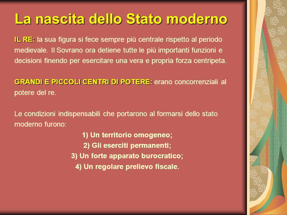 La nascita dello Stato moderno IL RE: IL RE: la sua figura si fece sempre più centrale rispetto al periodo medievale. Il Sovrano ora detiene tutte le