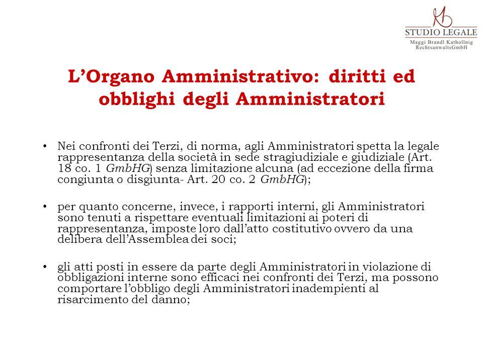 Nei confronti dei Terzi, di norma, agli Amministratori spetta la legale rappresentanza della società in sede stragiudiziale e giudiziale (Art. 18 co.