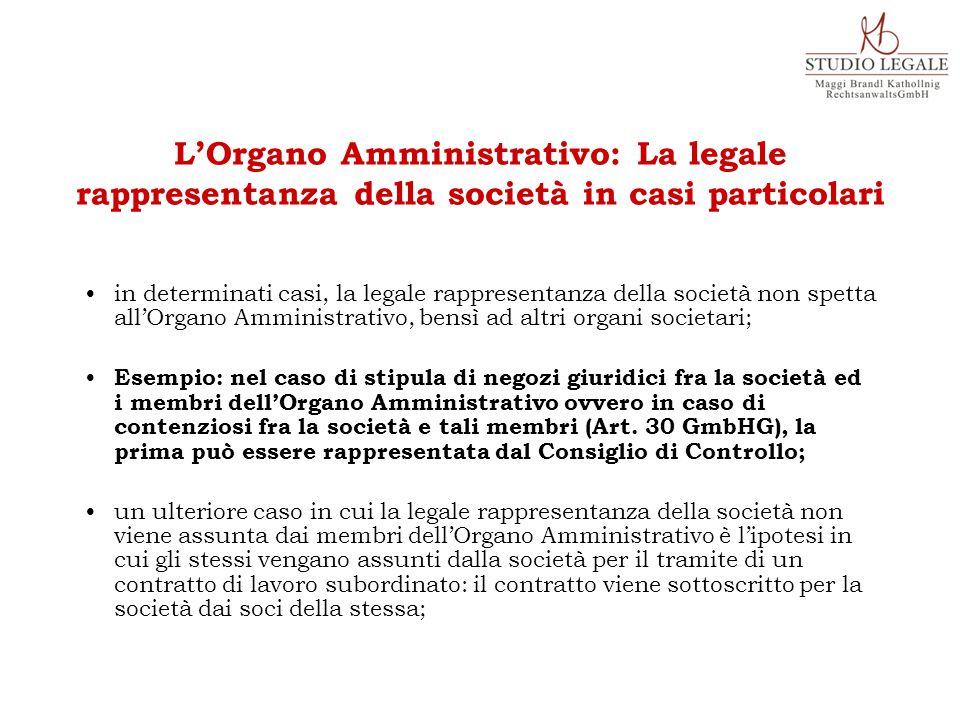 in determinati casi, la legale rappresentanza della società non spetta all'Organo Amministrativo, bensì ad altri organi societari; Esempio: nel caso d