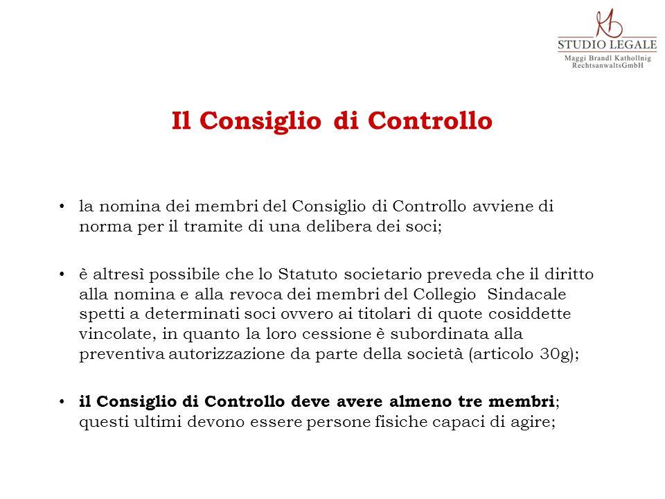 la nomina dei membri del Consiglio di Controllo avviene di norma per il tramite di una delibera dei soci; è altresì possibile che lo Statuto societari