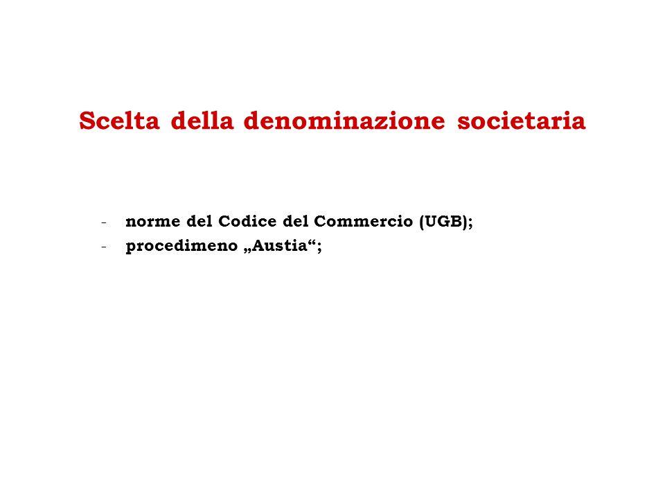 """Scelta della denominazione societaria - norme del Codice del Commercio (UGB); - procedimeno """"Austia"""";"""