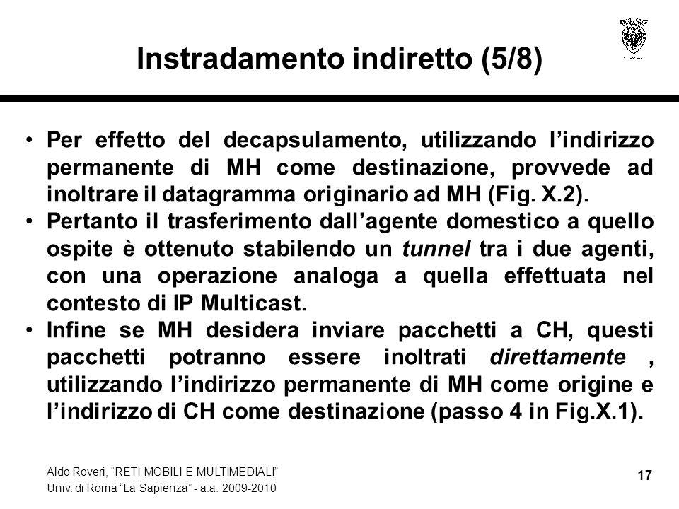 """Aldo Roveri, """"RETI MOBILI E MULTIMEDIALI"""" Univ. di Roma """"La Sapienza"""" - a.a. 2009-2010 17 Instradamento indiretto (5/8) Per effetto del decapsulamento"""
