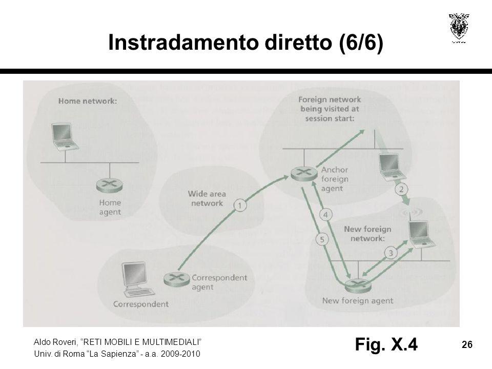 """Aldo Roveri, """"RETI MOBILI E MULTIMEDIALI"""" Univ. di Roma """"La Sapienza"""" - a.a. 2009-2010 26 Instradamento diretto (6/6) Fig. X.4"""