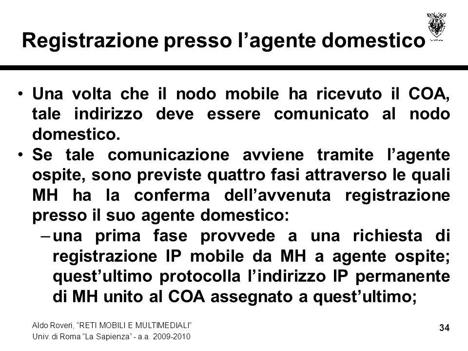 """Aldo Roveri, """"RETI MOBILI E MULTIMEDIALI"""" Univ. di Roma """"La Sapienza"""" - a.a. 2009-2010 34 Registrazione presso l'agente domestico Una volta che il nod"""