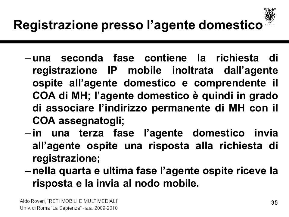 """Aldo Roveri, """"RETI MOBILI E MULTIMEDIALI"""" Univ. di Roma """"La Sapienza"""" - a.a. 2009-2010 35 Registrazione presso l'agente domestico –una seconda fase co"""